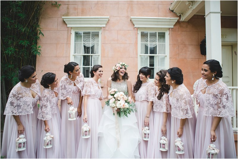 sparkly blush latino savannah wedding