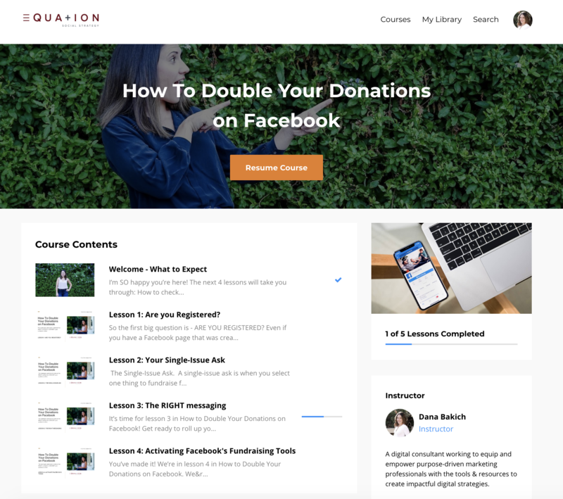Social media course outline for how to double your donations on Facebook.