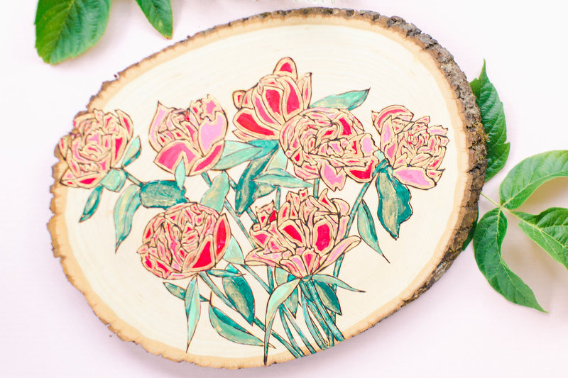 Wood burned red rose bouquet