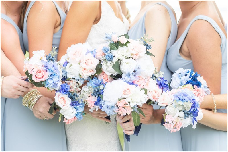 Homemade Bouquets with blue and pink flowers