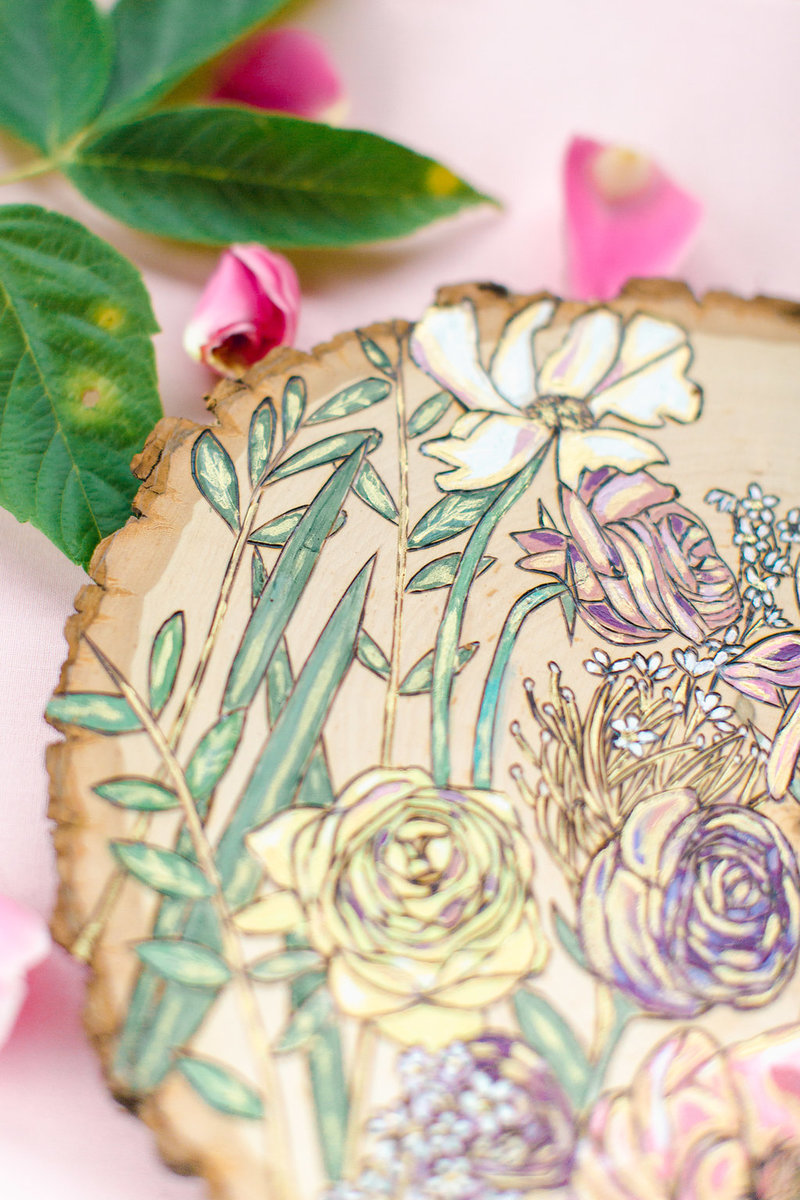 Pastel wedding bouquet pyrography by Amanda Stores