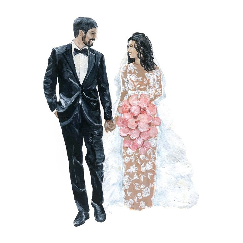Washington DC bride and groom live wedding painting