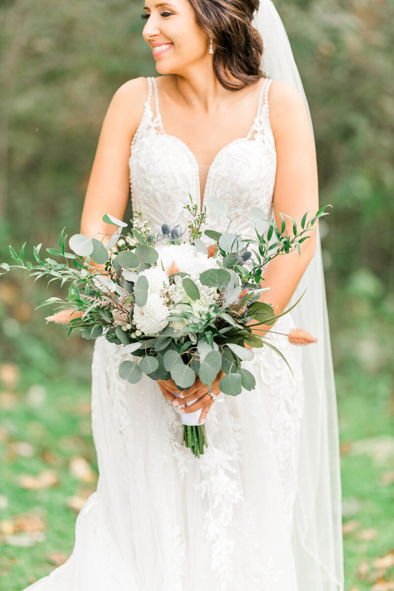 Greenery and White Bouquet Bride