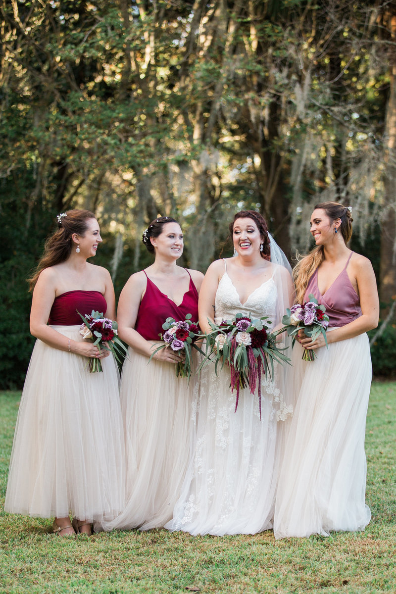 bride and bridesmaids in wedding photo
