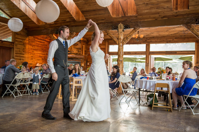 First Dance inside the rustic barn at Mountain View Ranch in Pine