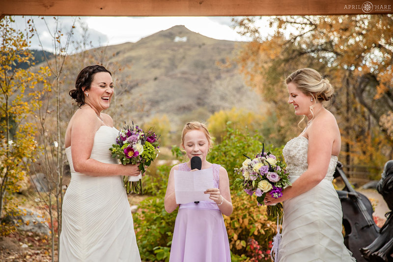Wedding on the outdoor courtyard patio with Pergola at The Golden Hotel in Colorado