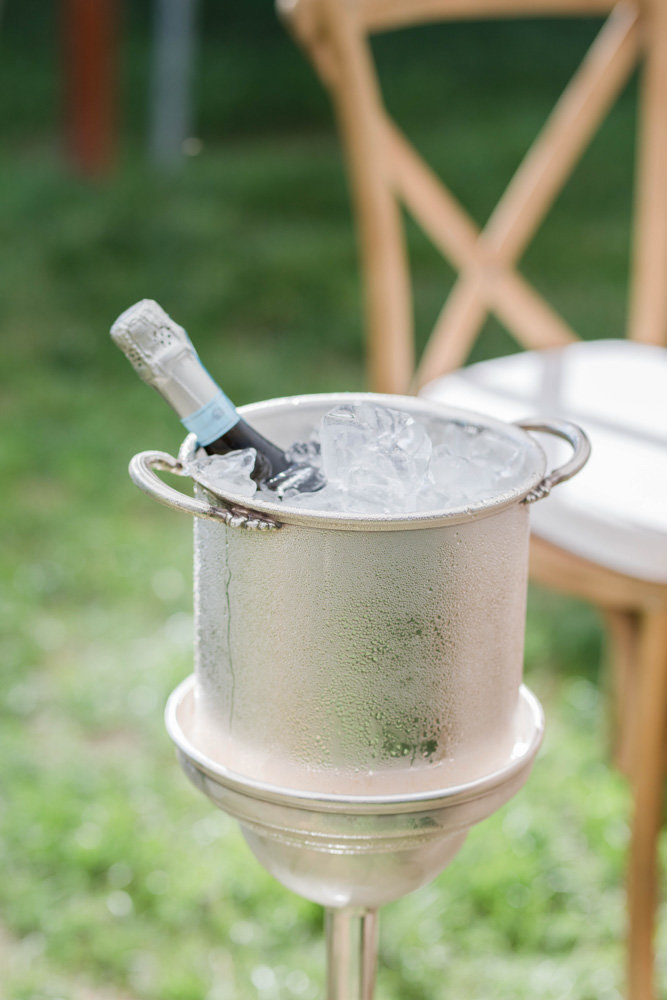 champagne service in bucket at eastern shore wedding at kirkland manor by costola photography