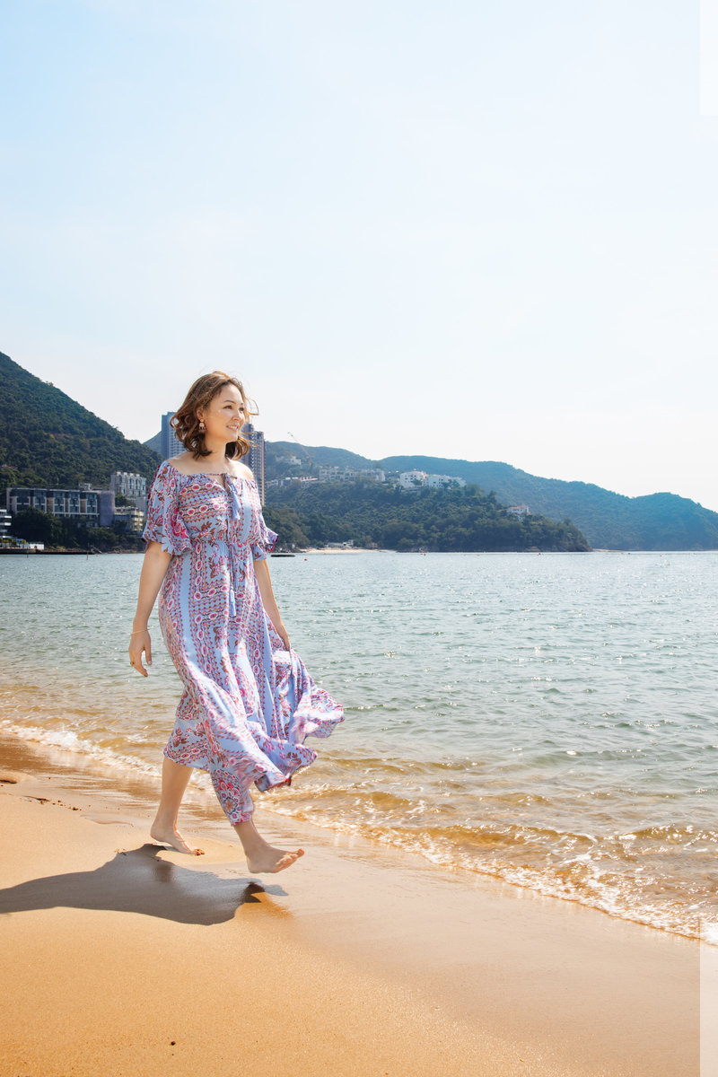 Walking along the beach, fun dress