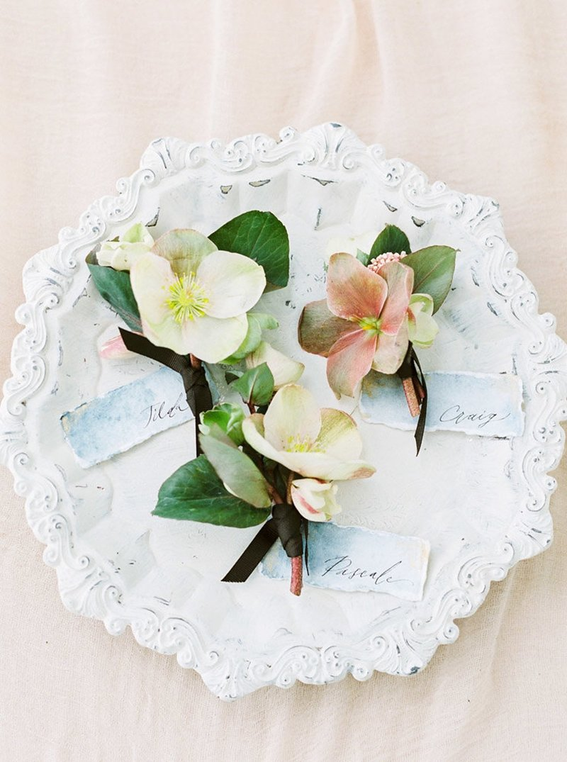 Hellebore boutonniere Hawaii wedding florist - Designs by Hemingway