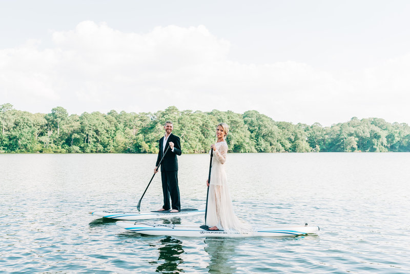 Virginia Wedding Photographer, bride and groom paddle boarding together