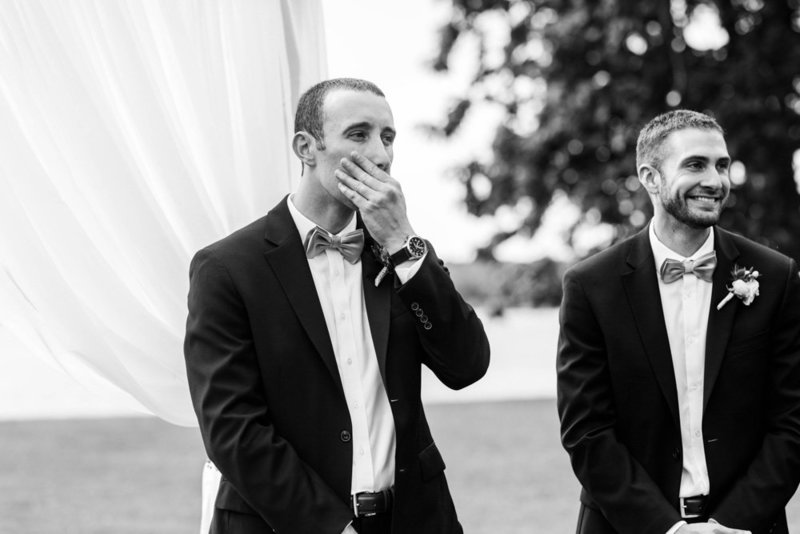groom seeing bride walk down the aisle at eastern shore wedding at kirkland manor by costola photography