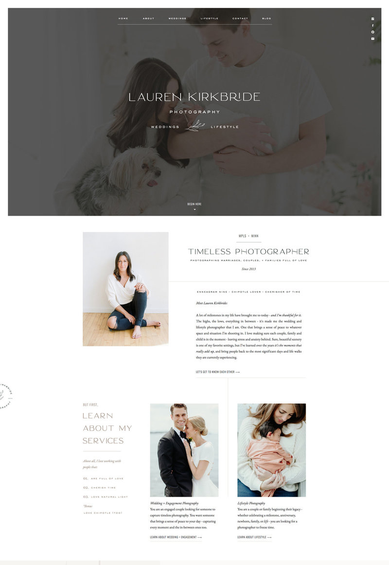 With Grace & Gold Website Design for Showit