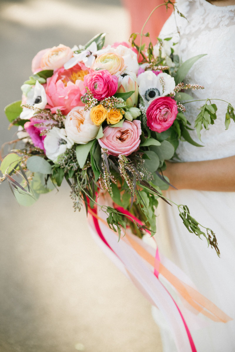 Whimsical pink summer wedding bouquet by twisted willow flowers