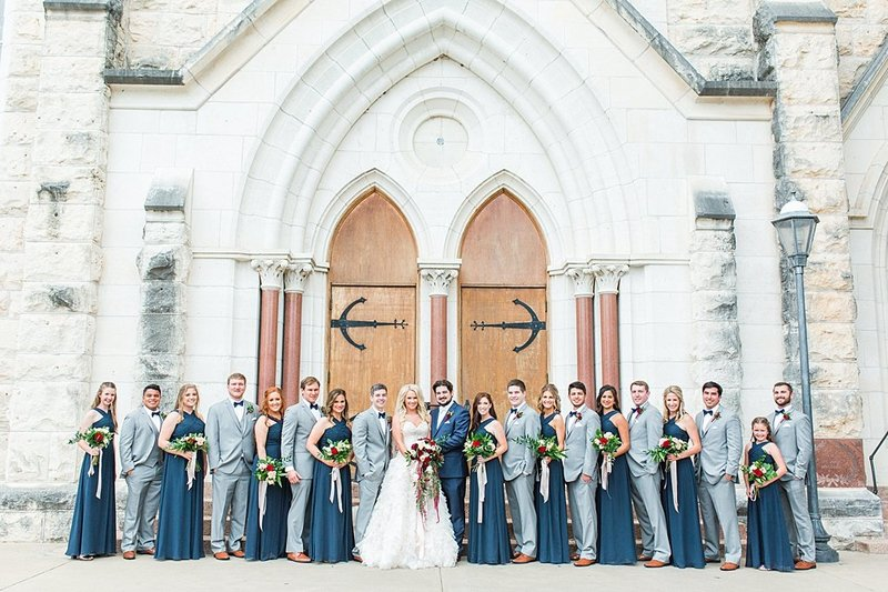 Wedding Ceremony at St Marys catholic church in Fredericksburg Texas and reception at National Museum of the Pacific war Nimitz in fredericksburg Texas Wedding Venue photos by Allison Jeffers Photography_0037