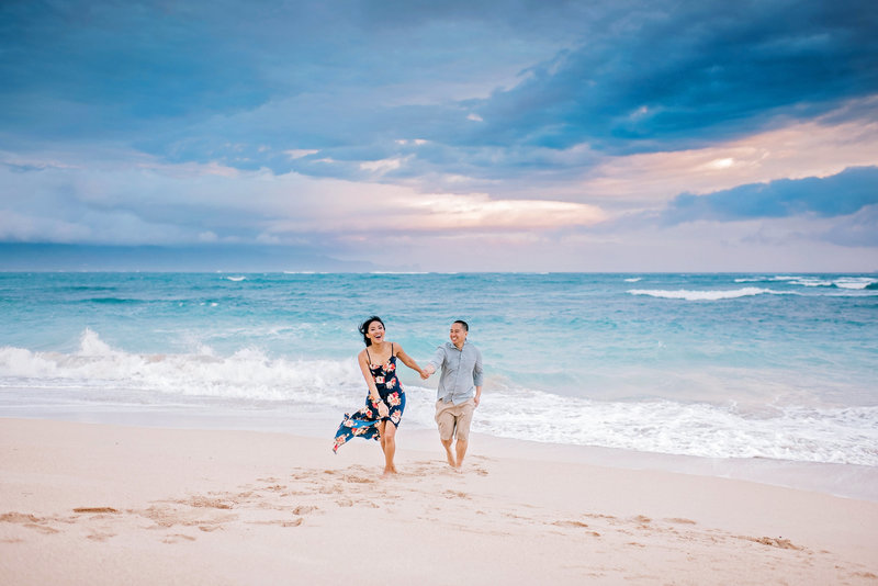 Sunrise couples session at Baldwin Beach in Paia Maui