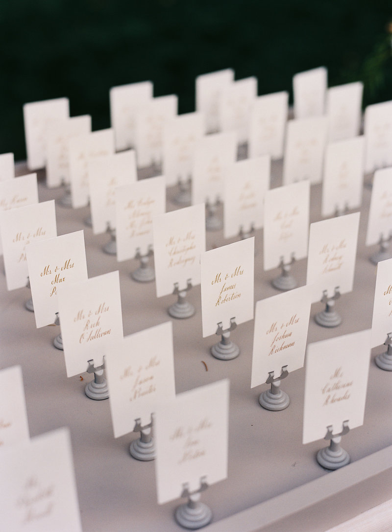 Place cards for wedding by Jenny Schneider Events at Meadowood luxury resort in Saint Helena in Napa Valley, California. Photo by Eric Kelley Photography.