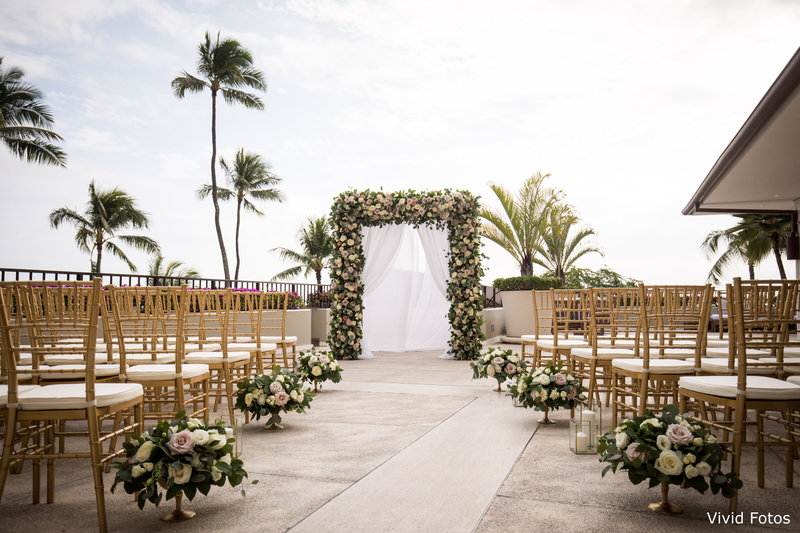 WM Gold chiavari chairs halekulani ceremony