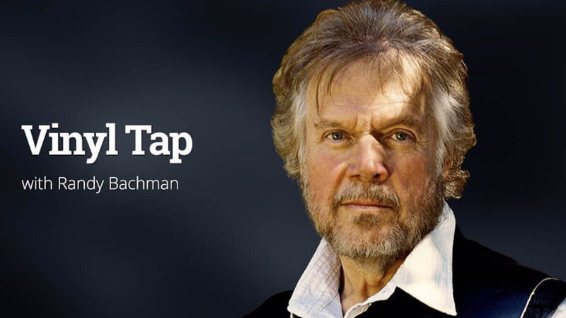 Randy Bachman Vinyl Tap Radio Show Promotional Image closeup against grey background title of program next to him
