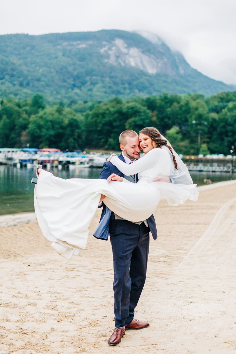 wedding on lake lure in north carolina