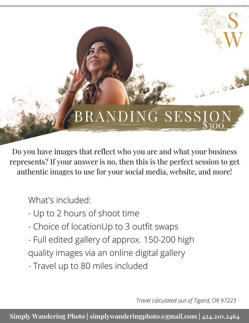 pnw brand photography session package