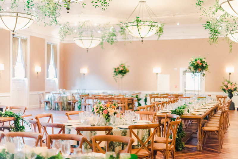 Wedding reception with greenery