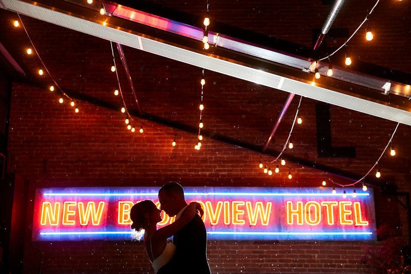Broadview hotel wedding photo at night