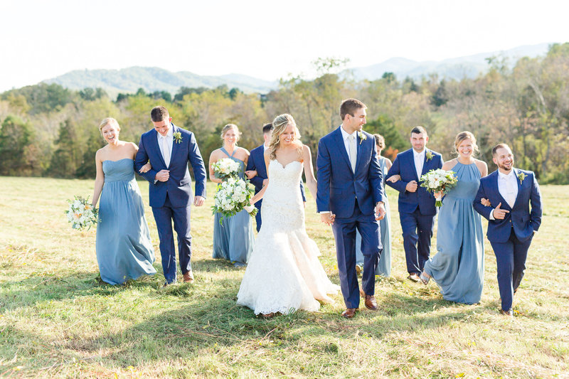 Joyful bridal party portraits at Bold Rock Cidery outside Charlottesville, Virginia.