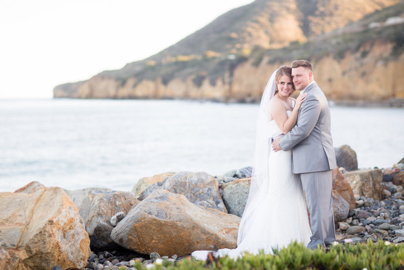 Bride and Groom photo on cliffs on Military Base in San Diego