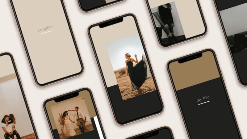 Various iphones displaying a collage of instagram social media templates