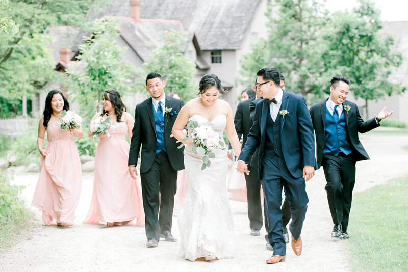 wedding bridal party walking together