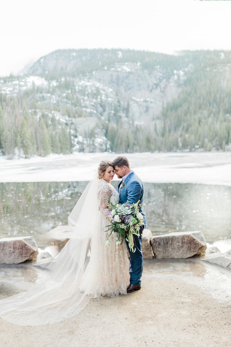 couple by bear lake in rmnp