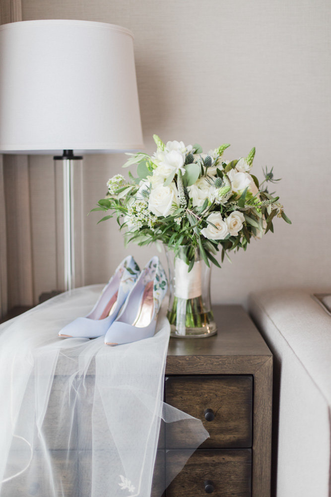 bouquet viel and shoes  at Stone House at Stirling Ridge Maryland Wedding by  Costola Photography