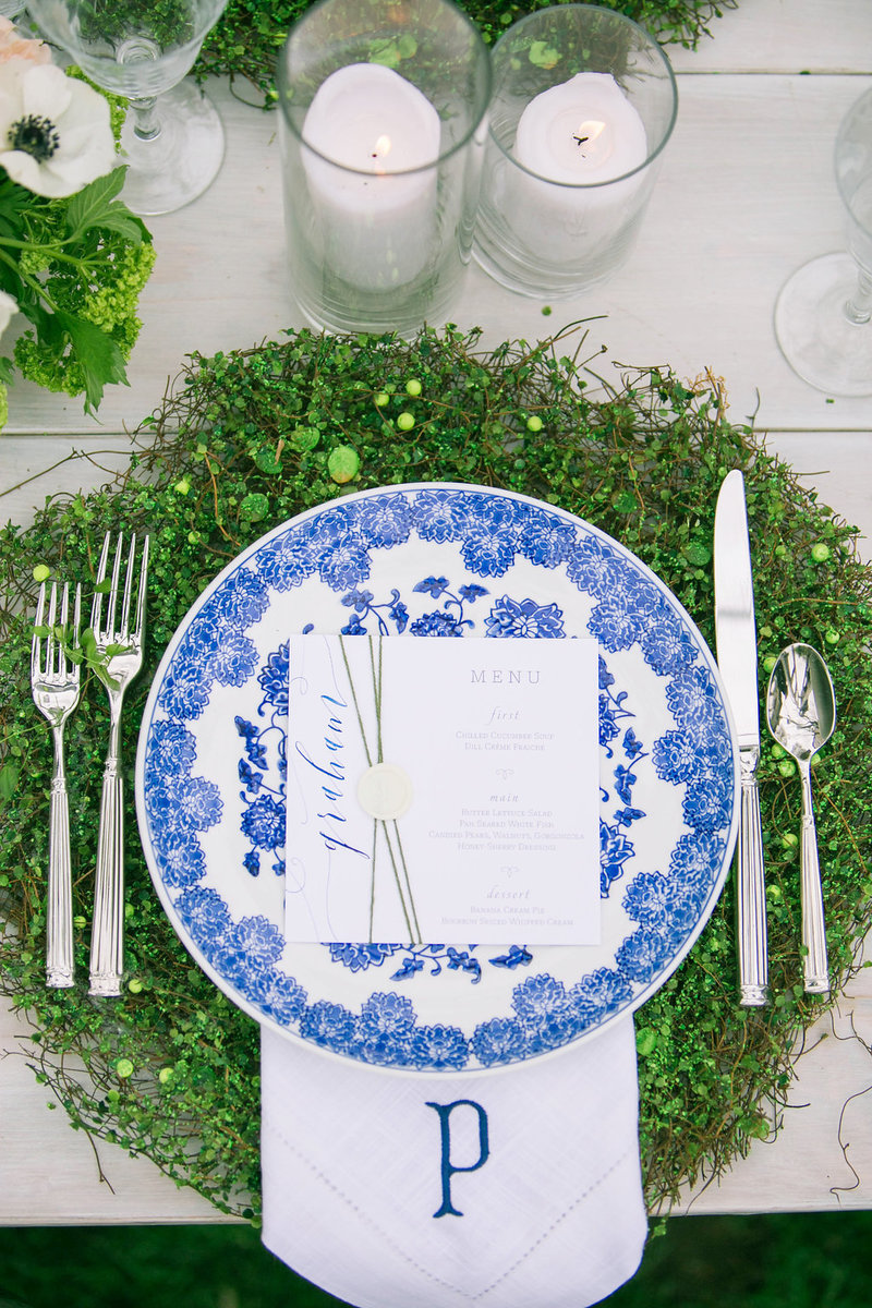 Blue and white wedding centerpiece flowers and monogram