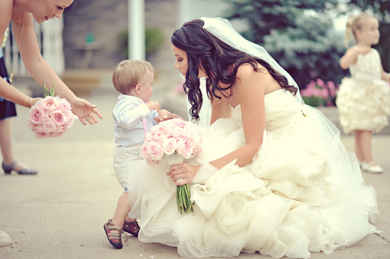 Bride and ringbearer at a Calgary wedding
