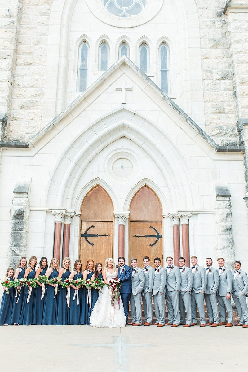 Wedding Ceremony at St Marys catholic church in Fredericksburg Texas and reception at National Museum of the Pacific war Nimitz in fredericksburg Texas Wedding Venue photos by Allison Jeffers Photography_0036