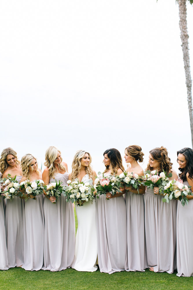 bride with bridsmaids at montage laguna beach wedding