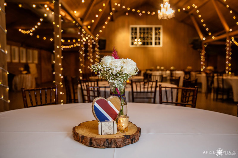 Southwest Airlines Travel Themed Wedding Reception at The Barn at Raccoon Creek in Colorado