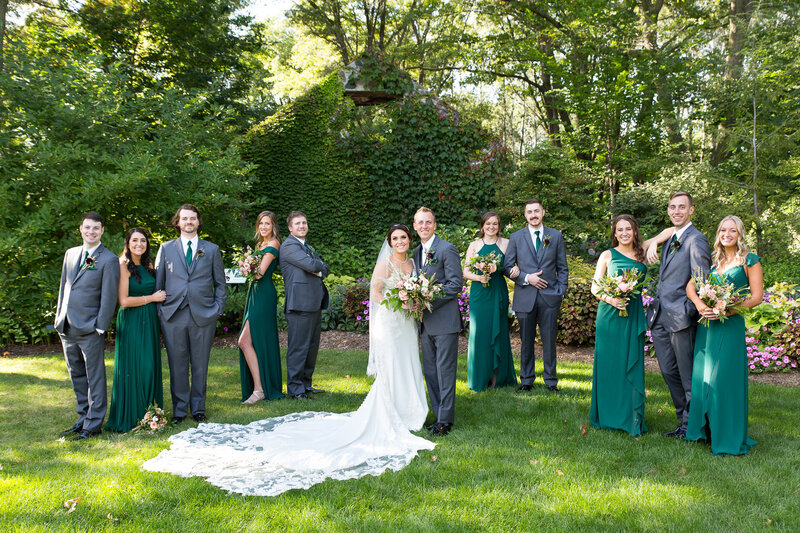 bridal party at detroit garden center