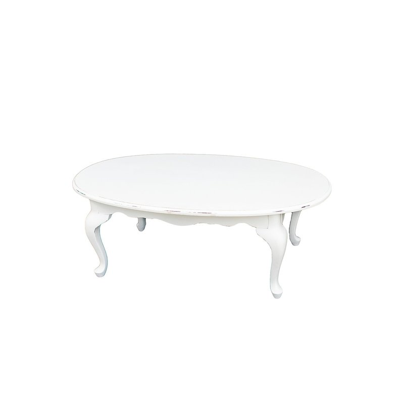 Vintage, white distressed, Queen Anne style coffee table.