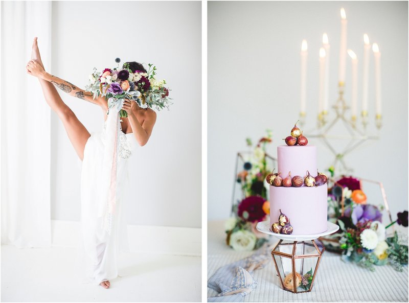bright colorful fig wedding cake