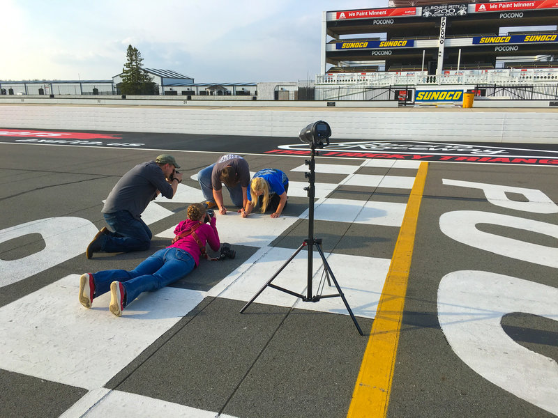 Behind the Scenes of photo session at Poconos Raceway