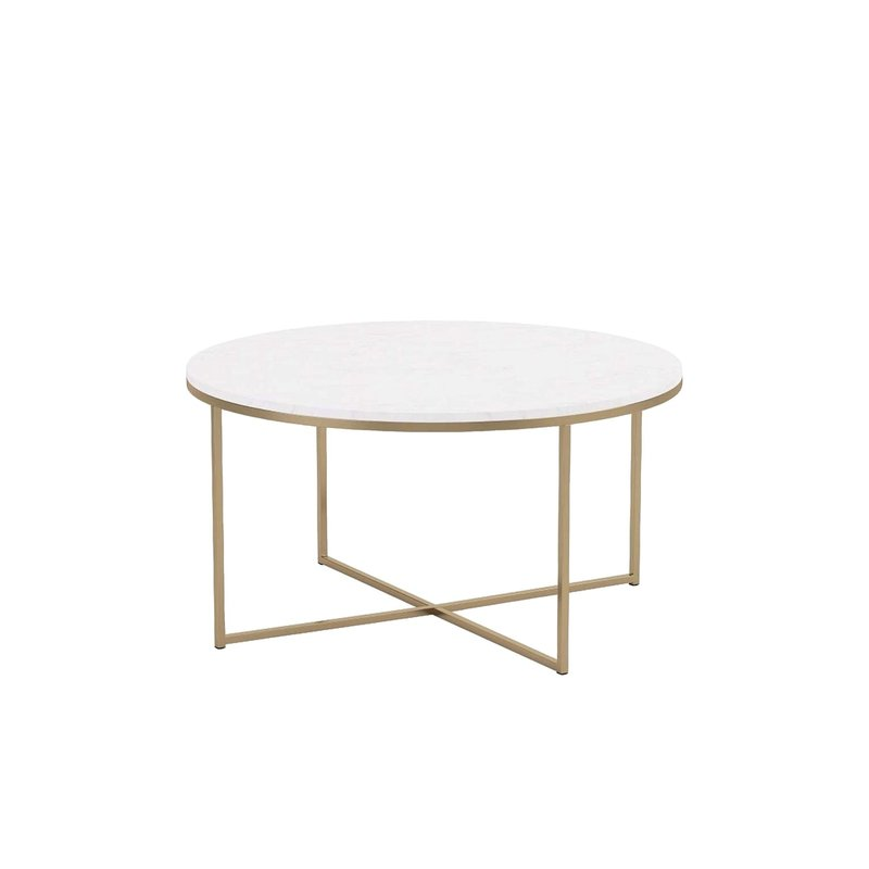 Mid-century inspired. Faux marble/gold coffee table.