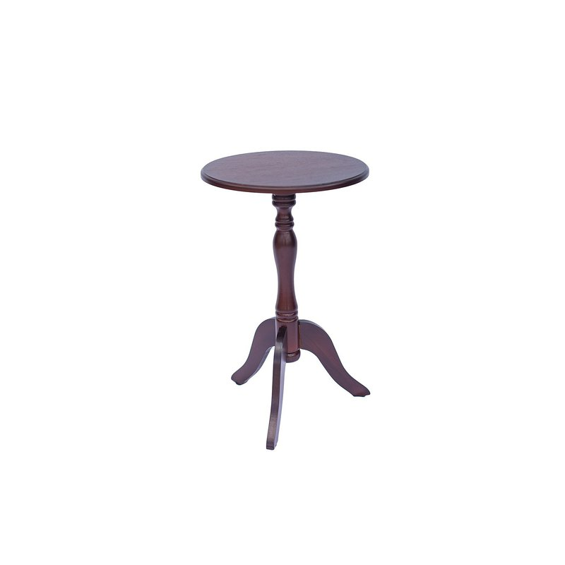 Dark brown, wooden, 3 pedestal table with circular top.