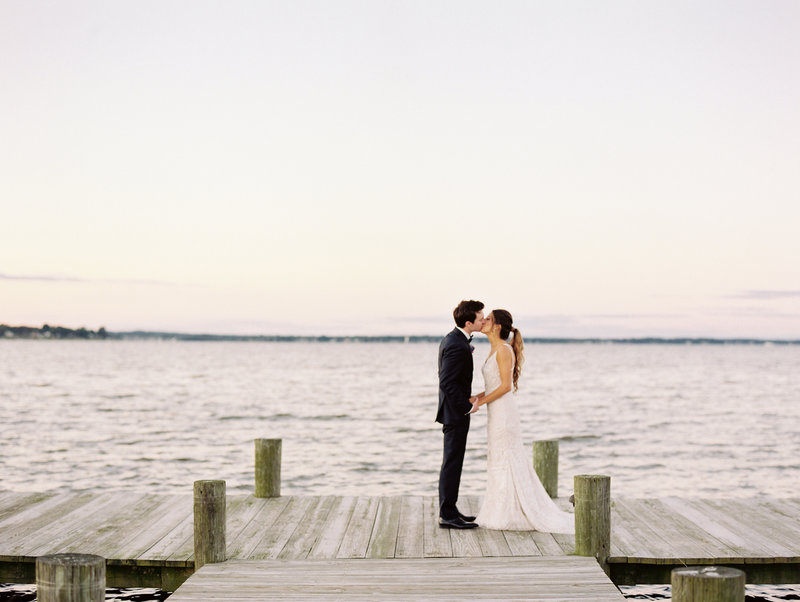 Sunset Portraits of Bride and Groom at Herrington on the Bay