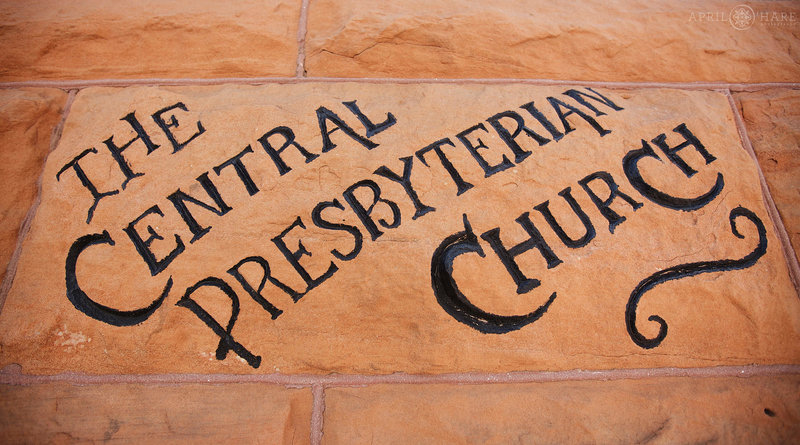 Historic sign on the Central Presbyterian Church in downtown Denver Colorado