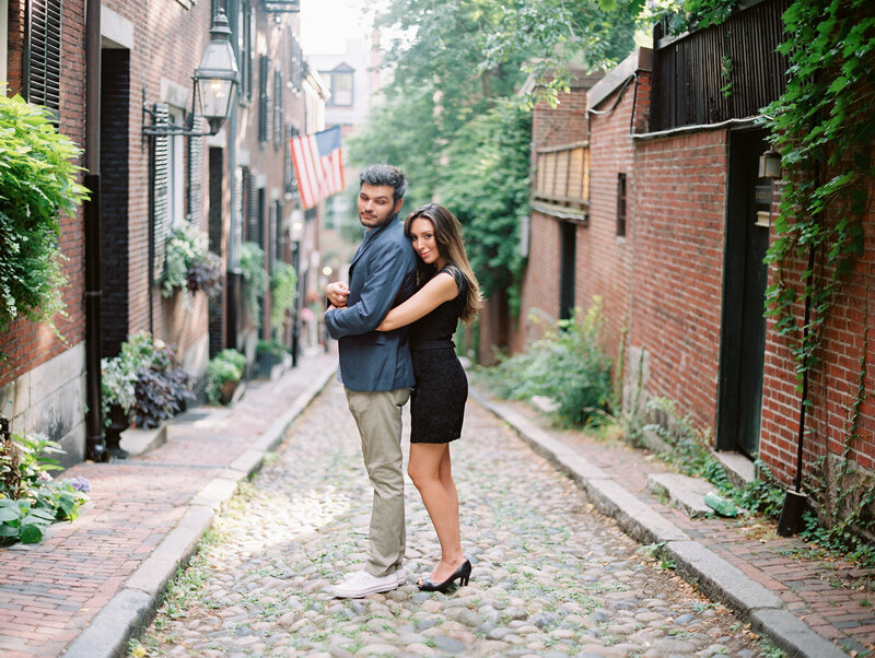 Acorn Street engagement session in Boston