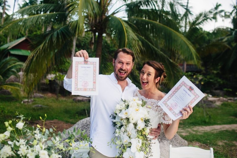 Bride and Groom legal marriage certificate