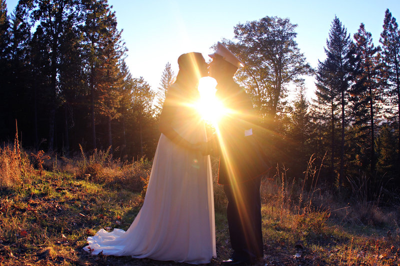 Sunset shot bride and groom