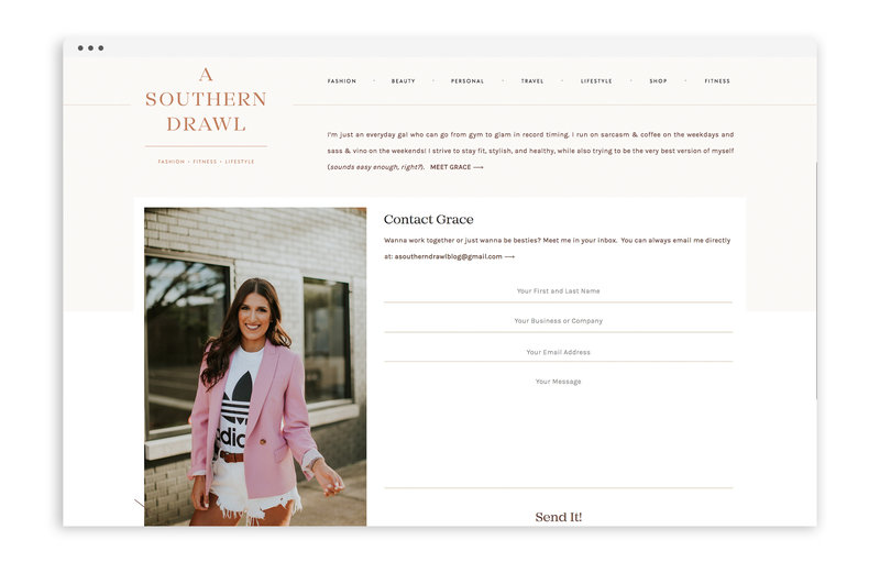 A Southern Drawl - Lifestyle Fitness Blog by Grace White - Custom Logo Design and Custom Showit Website Design by With Grace and Gold - 3