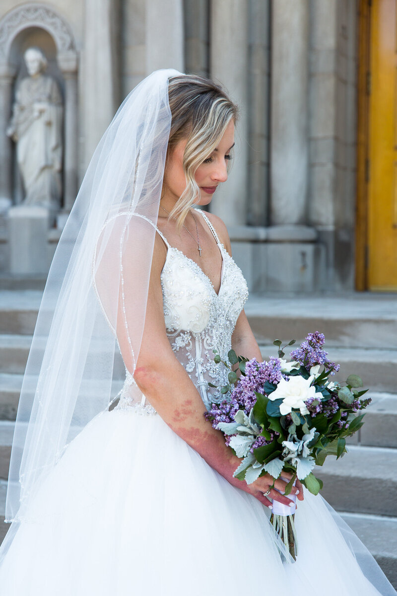bride outside of st. john cantius church